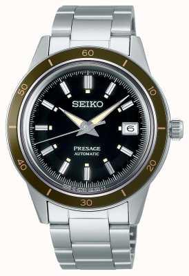 Seiko Brazalete de acero con esfera negra estilo presage de los años 60 SRPG07J1