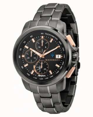 Maserati Reloj Successo solar para hombre en negro y oro rosa. R8873645001