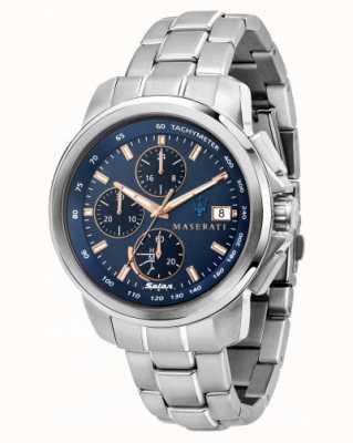 Maserati Reloj Successo solar para hombre con esfera azul R8873645004