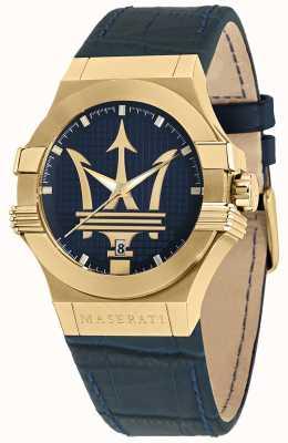 Maserati Reloj Potenza para hombre con correa de piel azul R8851108035