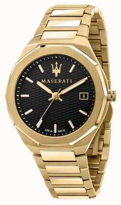 Maserati Reloj de hombre stile 3h data chapado en oro R8853142004