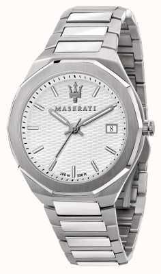 Maserati Reloj stile 3h data con esfera blanca para hombre R8853142005