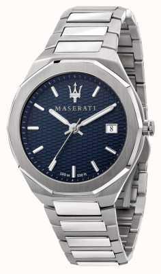 Maserati Reloj stile 3h data con esfera azul para hombre R8853142006