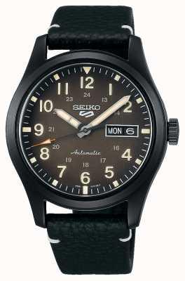 Seiko Reloj 5 sports field con correa de cuero chapado en negro SRPG41K1