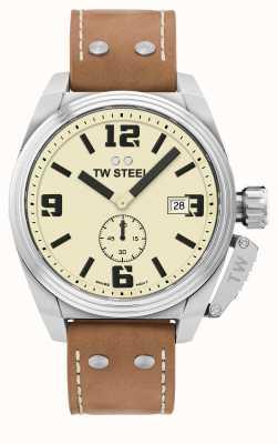 TW Steel Correa de cuero marrón cantina para hombre TW1000