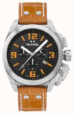TW Steel Reloj Canteen con correa de piel naranja TW1012