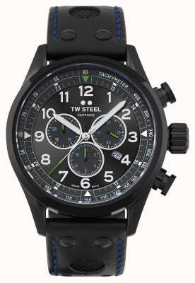 TW Steel Correa de cuero negro volante suizo SVS306