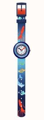 Flik Flak Sea la vie | correa para mascotas reciclada azul | esfera blanca FPNP086
