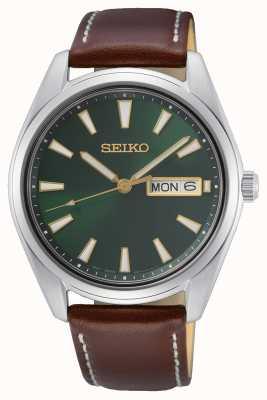 Seiko Reloj con correa de piel marrón con esfera verde SUR449P1