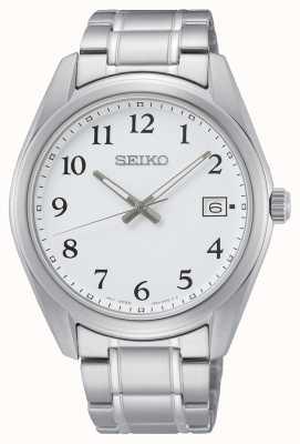Seiko Reloj de pulsera de acero inoxidable de 40,2 mm con esfera blanca SUR459P1