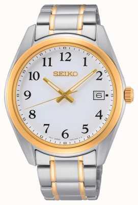 Seiko Reloj bicolor de acero inoxidable plateado y oro amarillo SUR460P1