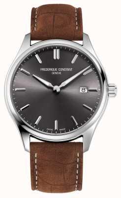 Frederique Constant Cuarzo clásico | correa de cuero marrón | esfera gris FC-220DGS5B6