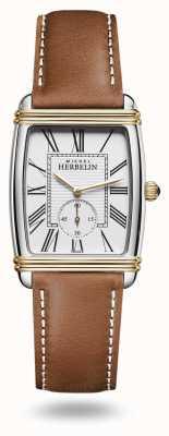 Michel Herbelin Reloj art déco para mujer con correa de piel marrón 10638/T08GO