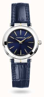 Michel Herbelin Reloj de mujer Newport con correa de piel azul y esfera azul 16922/T15BL