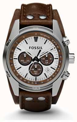 Fossil Deportes Caballeros reloj correa de cuero marrón cronógrafo CH2565