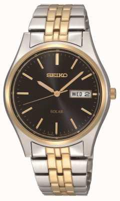 Seiko Reloj para hombre con esfera negra de dos tonos con energía solar SNE034P1