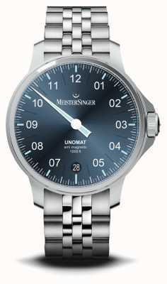 MeisterSinger Reloj unomat de acero inoxidable con esfera azul rayo de sol UN917