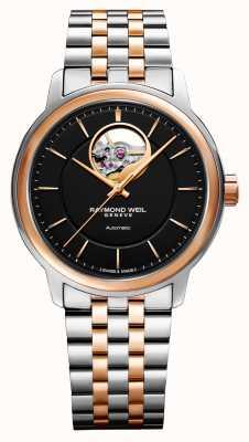 Raymond Weil Reloj maestro para hombre con esfera negra de dos tonos 2227-SP5-20021