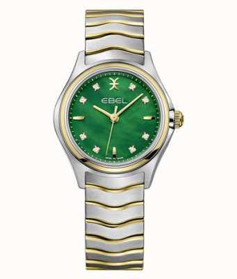 EBEL Conjunto de diamantes de dos tonos para mujer Wave, madreperla verde 1216440