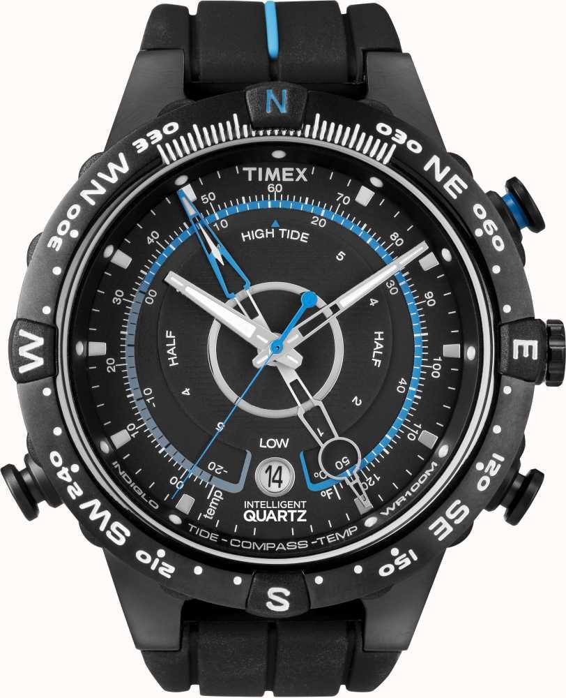 f8eb1c4edd01 Timex Iq Mens Reloj Correa De Caucho Negro   Esfera Azul T49859 ...