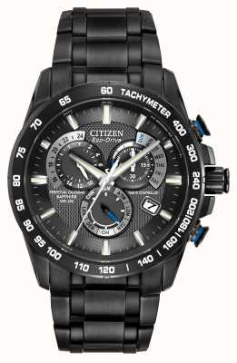 Citizen Mens radiocontrolado perpetual en cronógrafo ip negro AT4007-54E