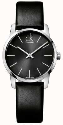 Calvin Klein Damas de la ciudad esfera de color negro correa de cuero negro K2G23107
