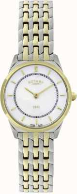 Rotary Reloj de pulsera ultra-delgado de dos tonos para mujer LB08001/02
